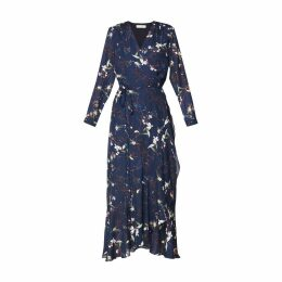 PAISIE - Floral Tie Wrap Maxi Dress With Frills In Navy