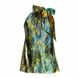 Talented - Long Ruffle Dress with Belt Green
