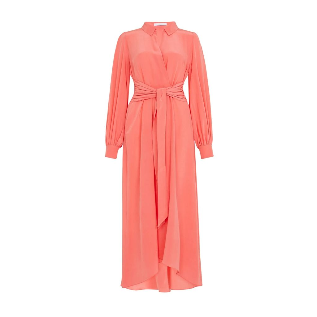 Rumour London - Adriana Maxi Ribbed Wool Dress In Scarlet