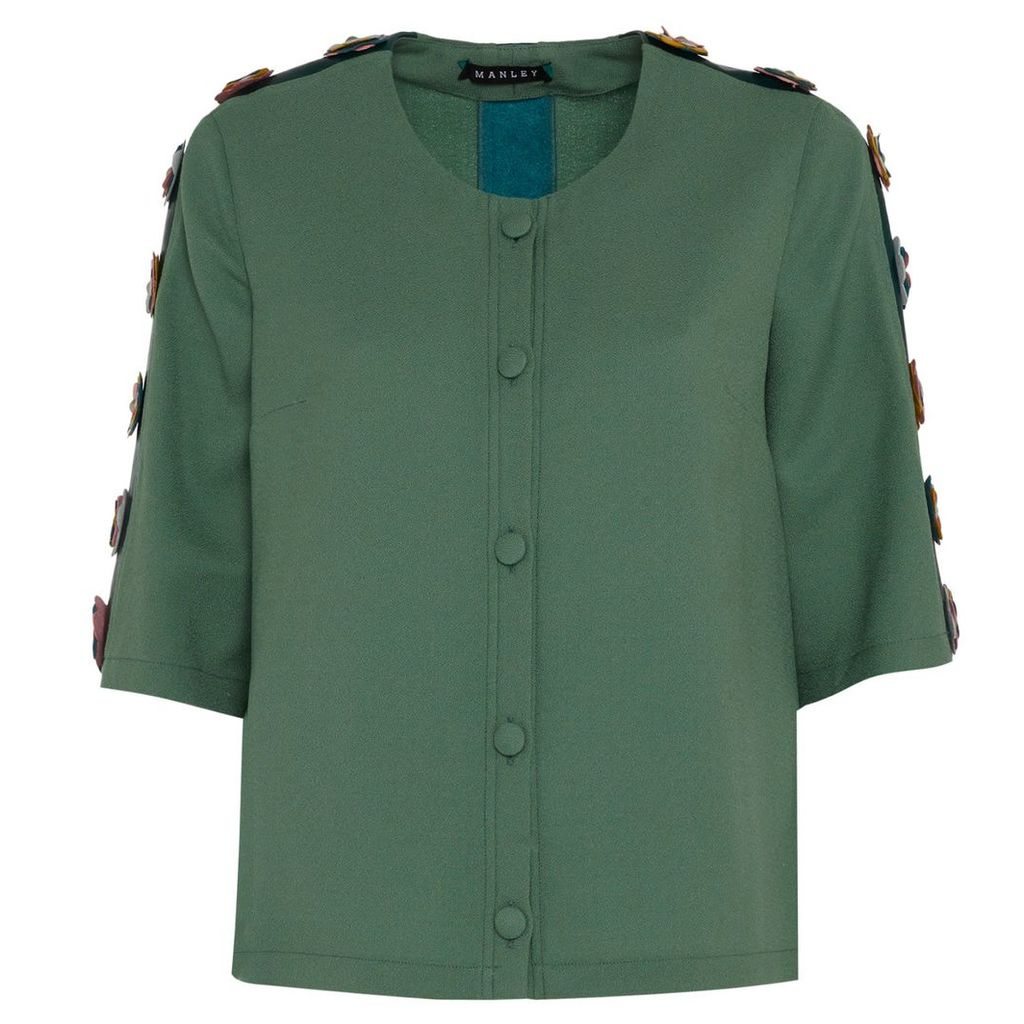 Manley - Tabby Silk & Leather Embellished Jacket Green