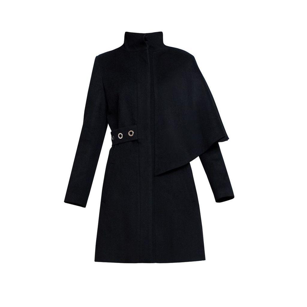 Rumour London - Mayfair Black Asymmetric Wool Blend Coat
