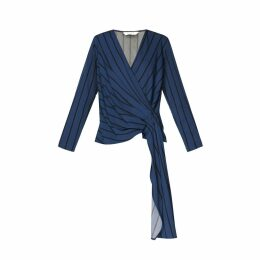 PAISIE - Striped V Neck Top With Front Wrap & Side Drape