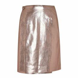 Manley - Parker Metallic Leather Skirt Pink Tinsel