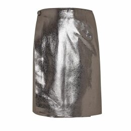 Manley - Parker Metallic Leather Skirt Silver