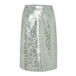 Manley - Parker Metallic Leather Skirt Mint