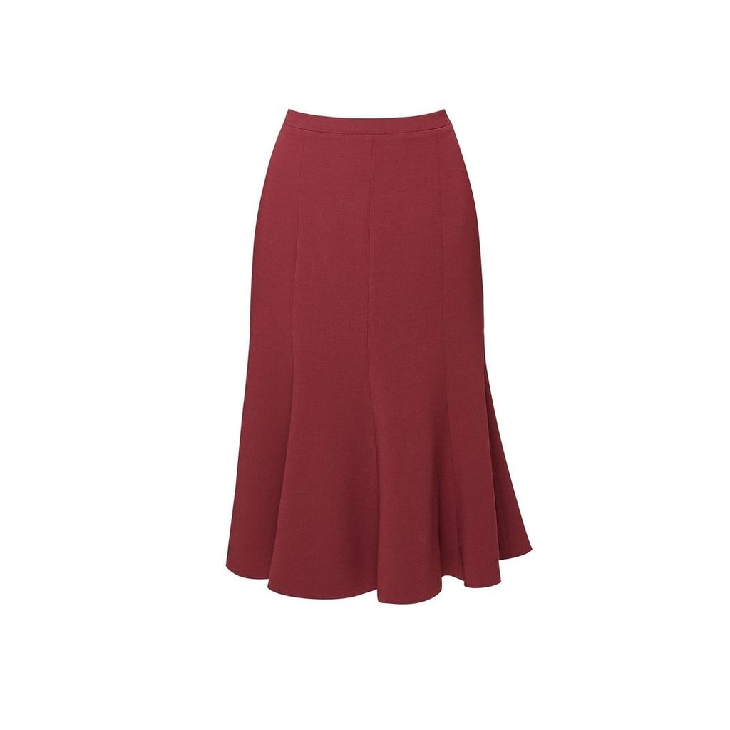Rumour London - Lucy Wool Midi Skirt In Berry