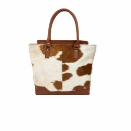 MAHI Leather - Pony Hair Leather Florence Tote In Brown & White