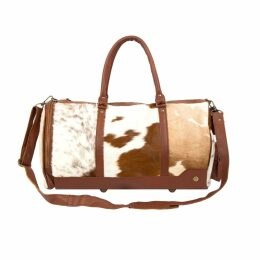 MAHI Leather - Leather Columbus Duffle Weekend Bag In Brown & White Pony Hair