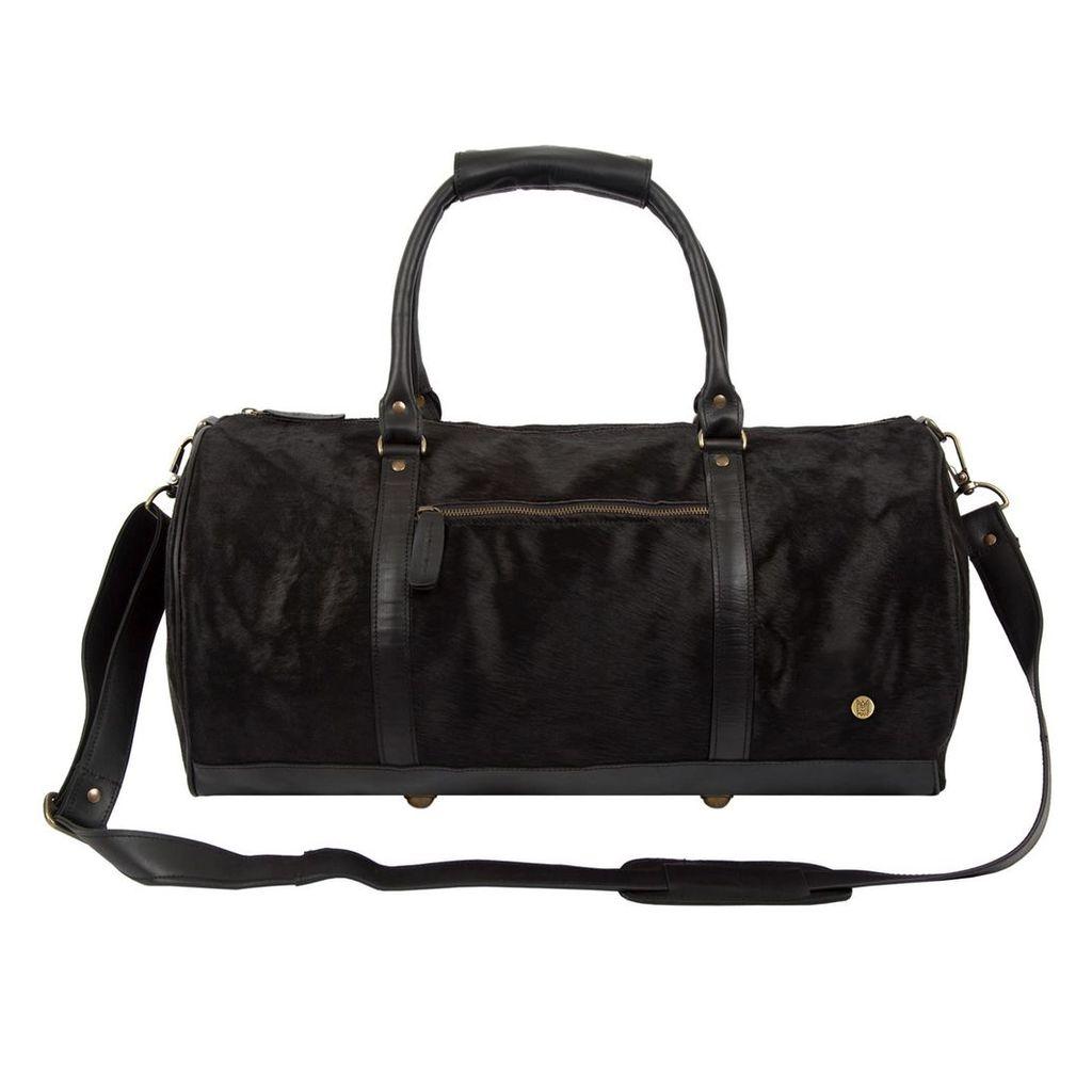 MAHI Leather - Classic Duffle Weekender In Ebony Black Natural Fur
