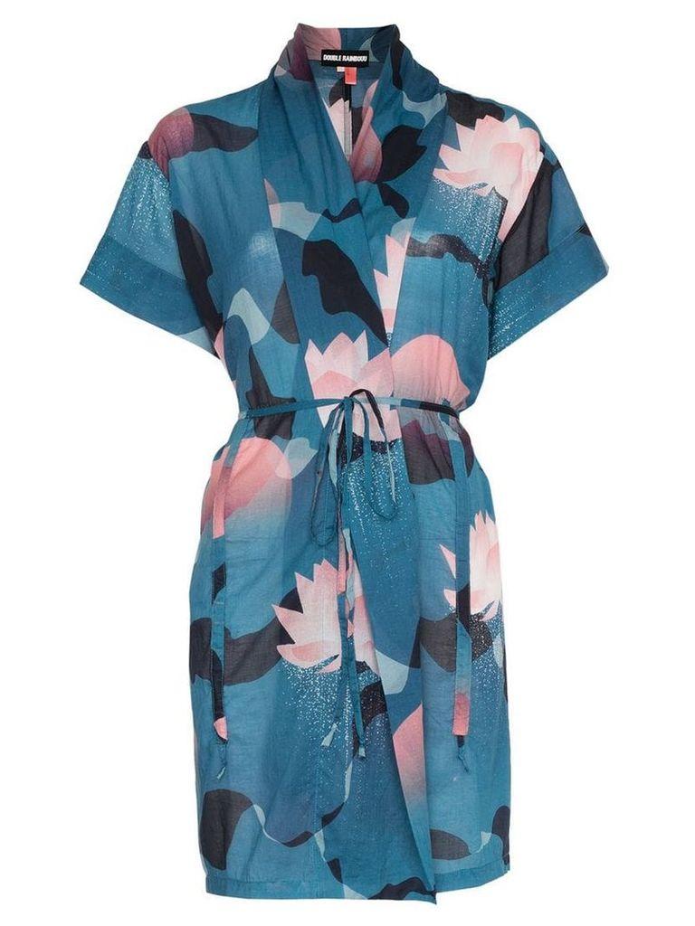 Double Rainbouu vintage floral print cotton beach kimono - Blue
