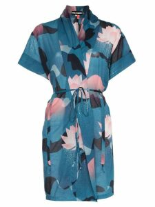 Double Rainbouu vintage floral print cotton beach kimono - Blue