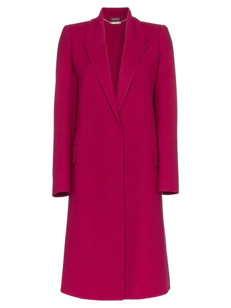 Alexander McQueen single breasted cashmere blend coat - Pink