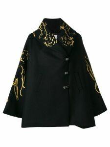 Romeo Gigli X Eggs embroidered cape - Black