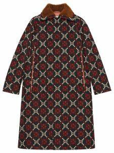 Gucci GG diamond wool cape coat - Black