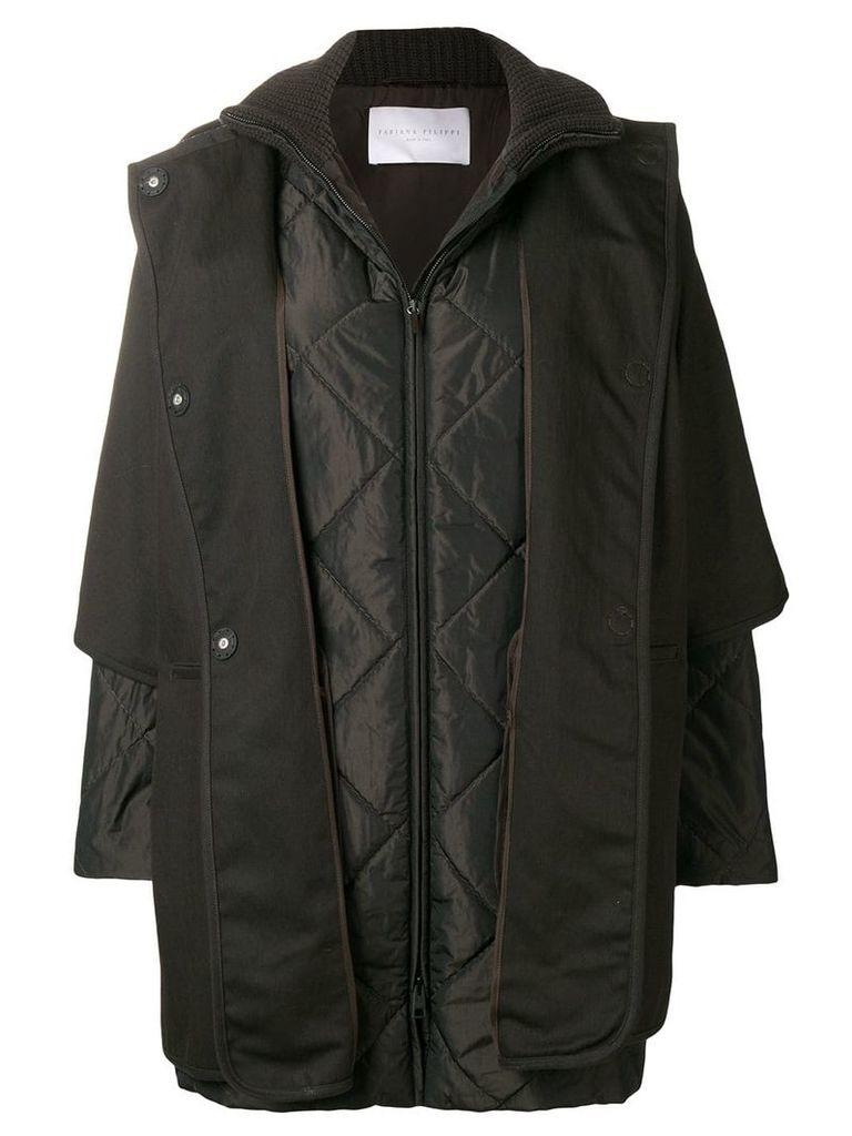 Fabiana Filippi padded sleeved coat - Brown