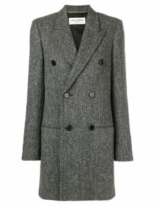 Saint Laurent chevron double-breasted coat - Grey