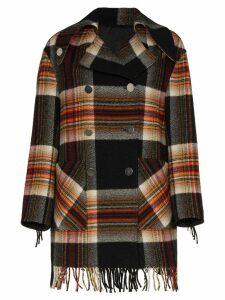 Calvin Klein 205W39nyc Checked Coat With Fringe Trims - Multicolour