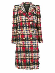 Alexandre Vauthier oversized check coat - Red