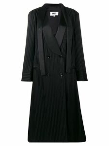 Mm6 Maison Margiela striped double-breasted coat - Black