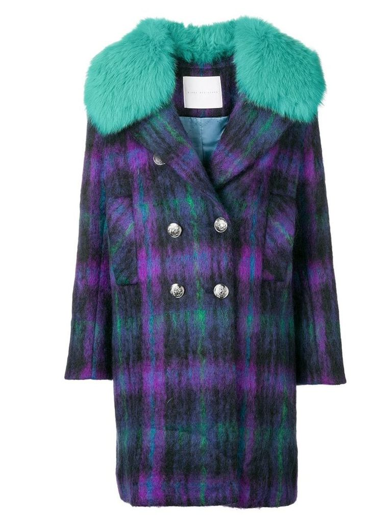 Giada Benincasa fur trimmed collar coat - Purple