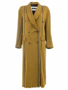 Uma Wang striped double breasted coat - Brown