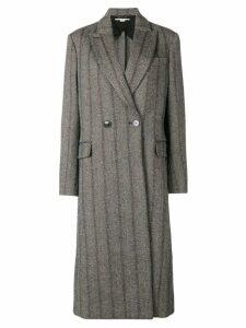 Stella McCartney striped double breasted coat - Grey