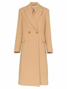 Stella McCartney double breasted wool coat - Brown