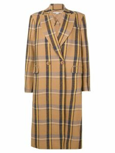 Stella McCartney check double breasted coat - NEUTRALS