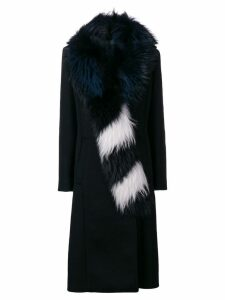 Off-White fur collar long coat - Black