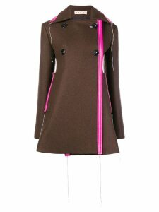 Marni flared short coat - Brown