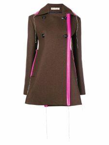 Marni flared short coat - Brown