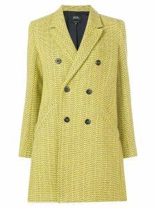 A.P.C. textured double-breasted coat - Yellow