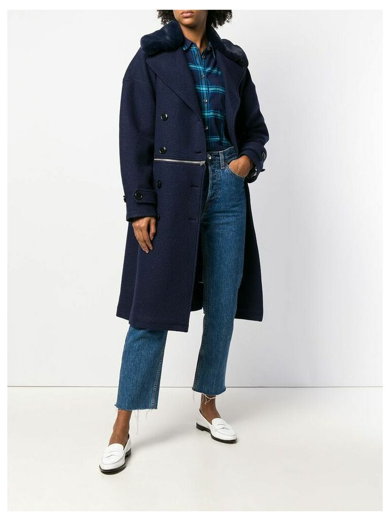 Closed double-breasted fitted coat - Blue