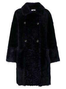 Desa Collection double breasted fur coat - Blue