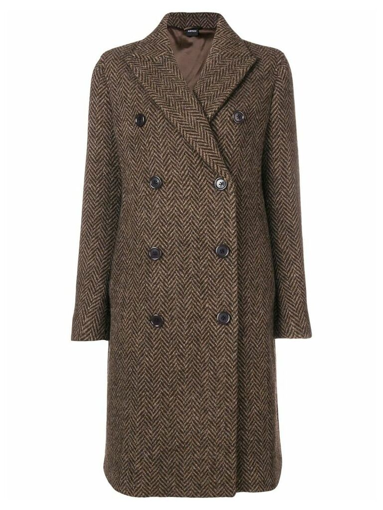 Aspesi double breasted herringbone coat - Brown
