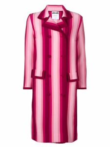 Moschino striped double breasted coat - Pink