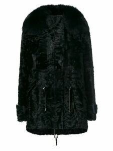 Yves Salomon trim coat - Black