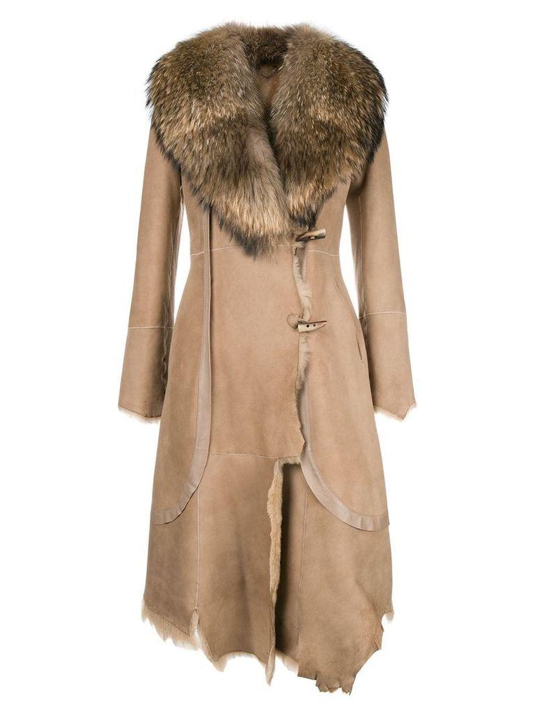 Desa 1972 asymmetric midi coat - Neutrals