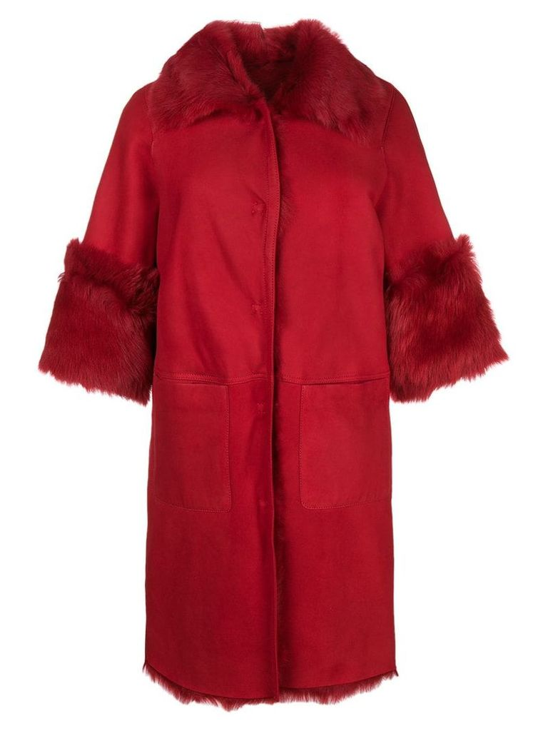 Desa 1972 shearling oversized coat - Red