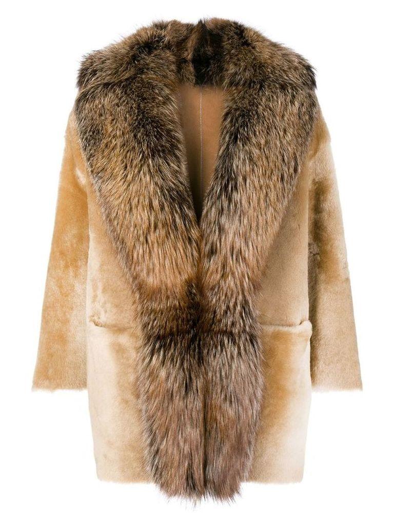 Desa 1972 racoon fur trimmed coat - Neutrals