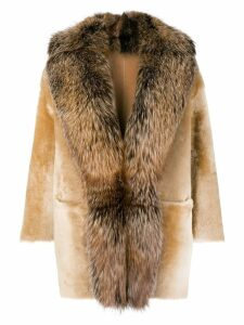 Desa 1972 racoon fur trimmed coat - Neutrals