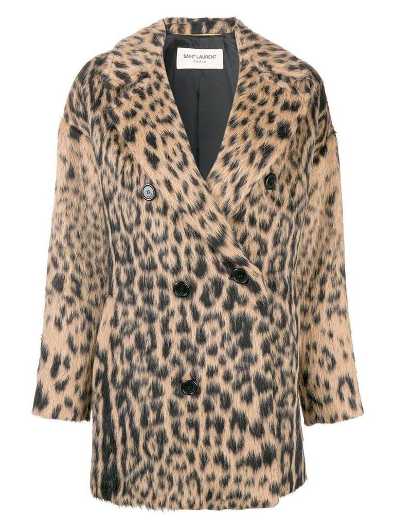 Saint Laurent double-breasted leopard coat - Black