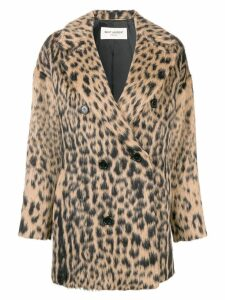 Saint Laurent double-breasted leopard coat - Black