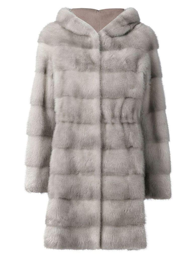 Liska panneled hooded coat - Grey