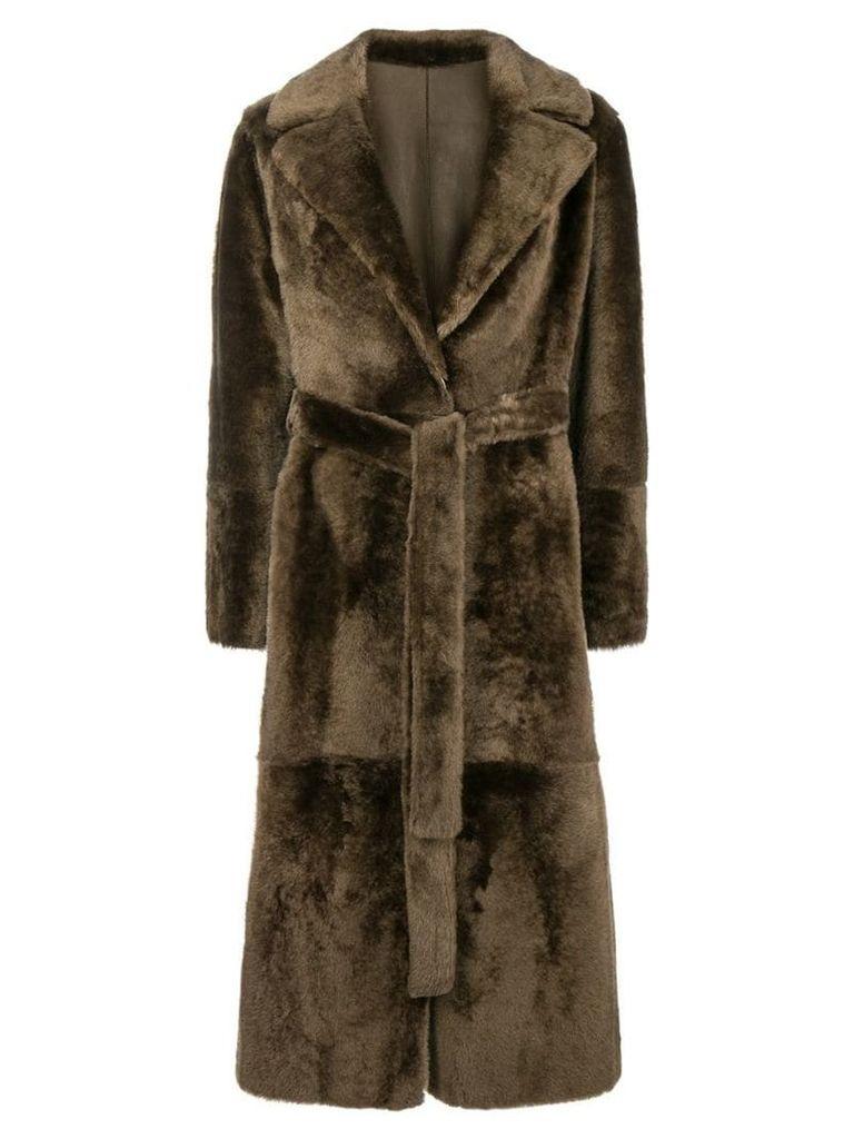 Yves Salomon belted lamb fur coat - Brown