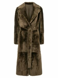 Yves Salomon belted lamb fur coat - Brown