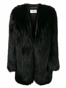 Saint Laurent oversized fur coat - Black
