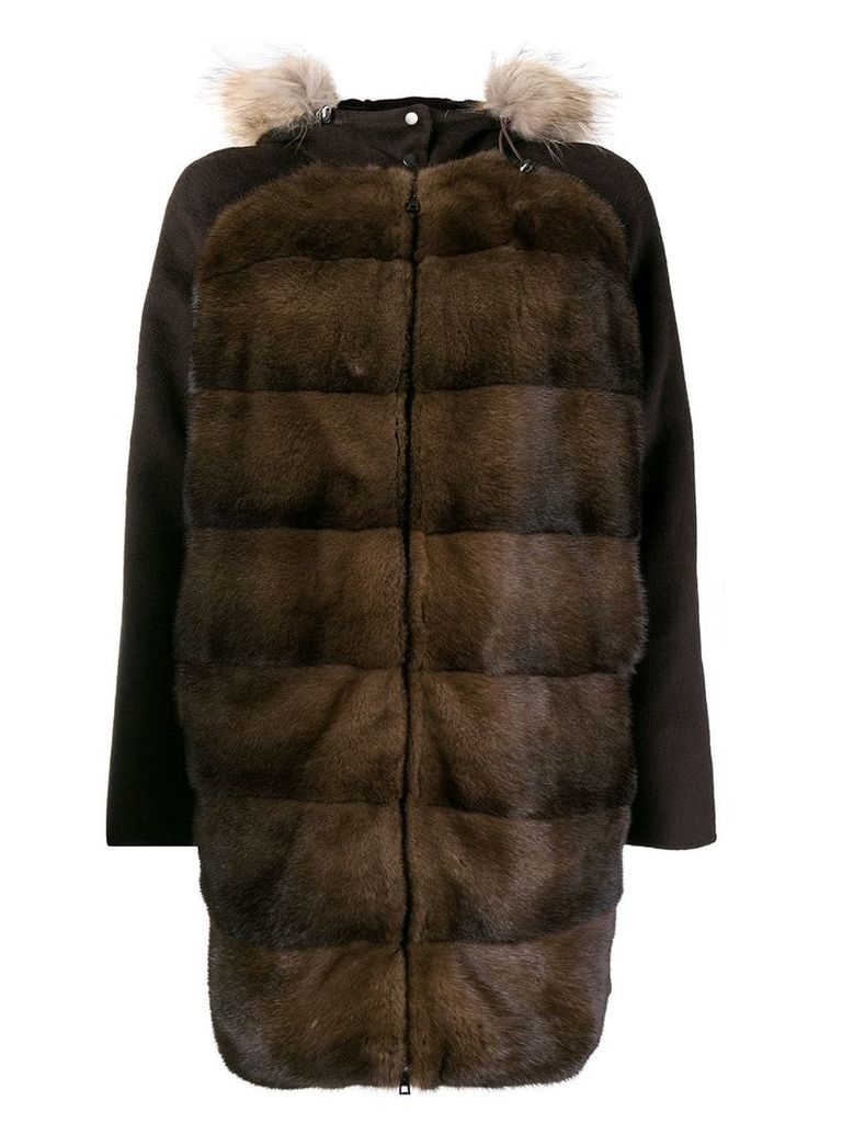 P.A.R.O.S.H. panel hooded coat - Brown
