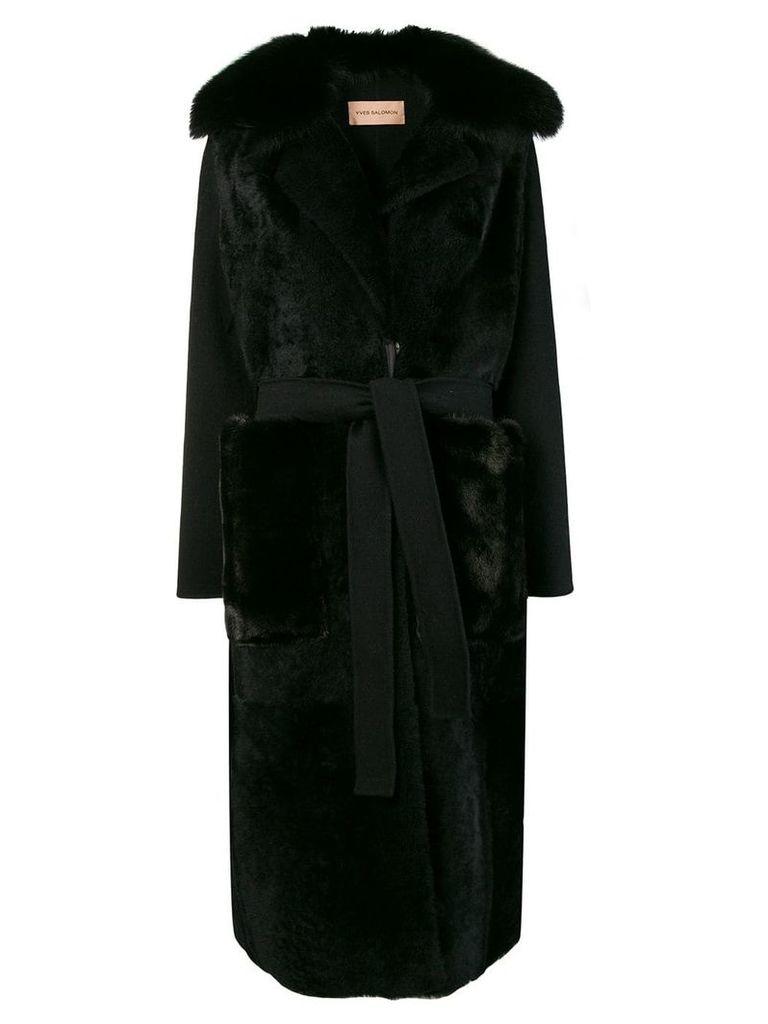 Yves Salomon long shearling coat - Black