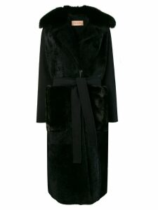 Yves Salomon long shearling coat - Black